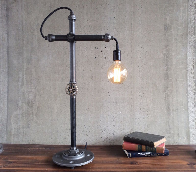 bare bulb desk lamps industrial style work light by peared creation. Black Bedroom Furniture Sets. Home Design Ideas