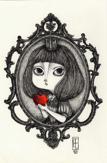Gothic Girl Ink Etchings