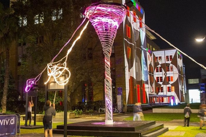 multihued illuminated sculptures   interactive sculpture