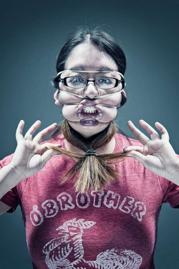 Contorted Rubber Band Portraits