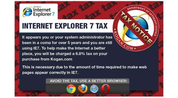 internet explorer 7 tax