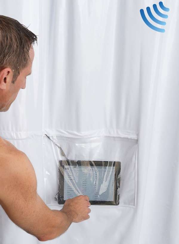 Gadget-Embedded Bathroom Drapes