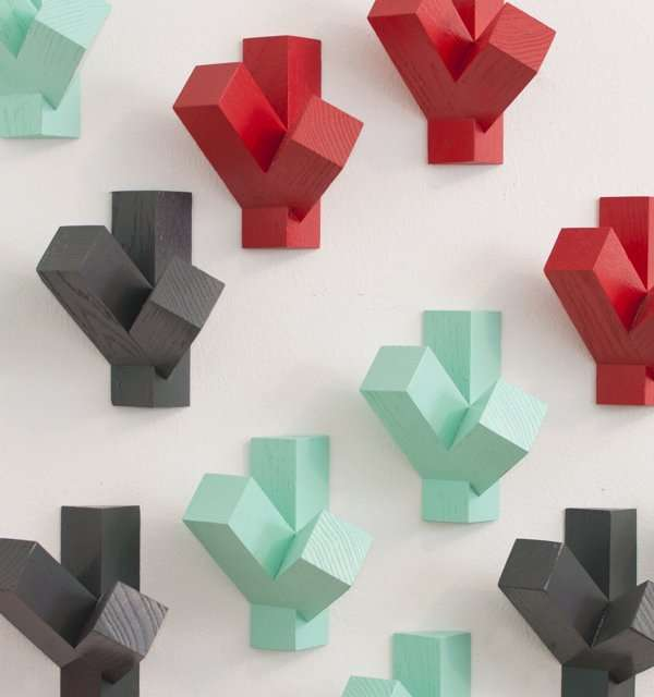 Geometric Stacked Coat Hooks
