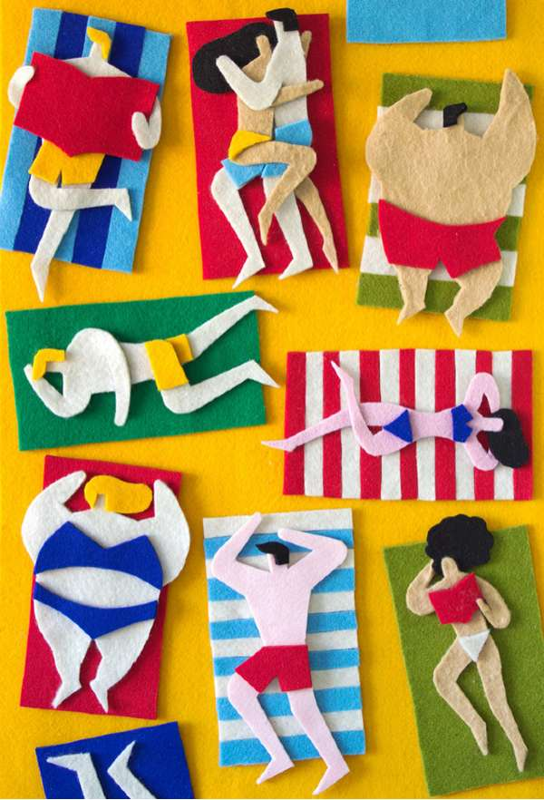 Cartoonish Felt Collages