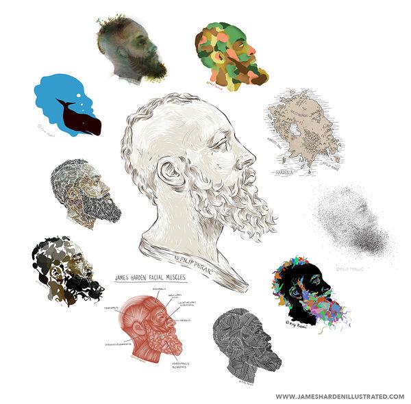 Abstract Athlete Inspired Illustrations James Harden S Beard
