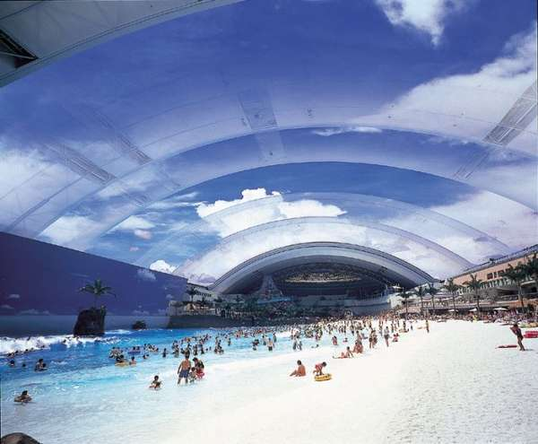 Japanese Indoor ManMade Surfing Beach: Next to the Ocean