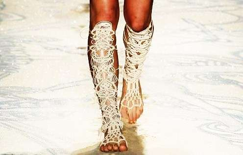 Knee-High Crochet Footwear