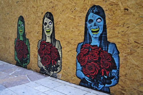 Satirical Skeletal Street Art