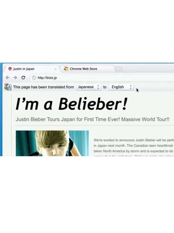 Justin Bieber Google Chrome