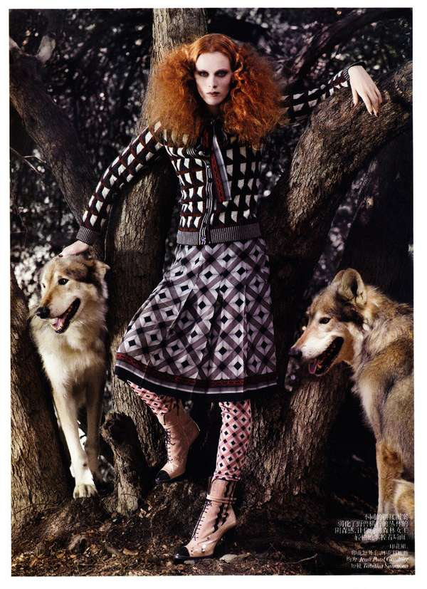 Wolfy Wilderness Fashion Shoots : Karen Elson Vogue China