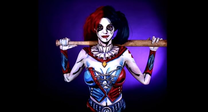 Harley Quinn Comic Body Paint Kay Pike