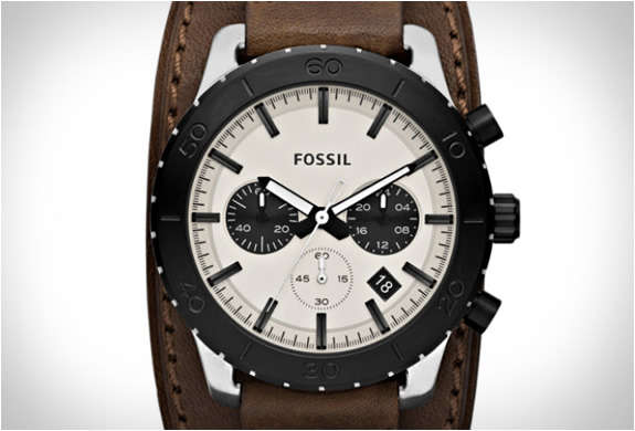 keaton leather watch by fossil