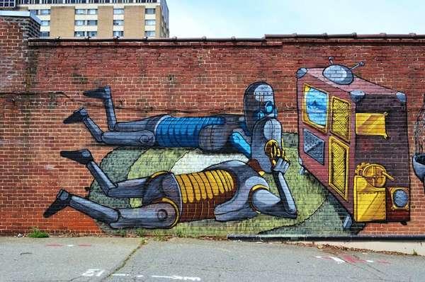 Vibrant Robot Murals