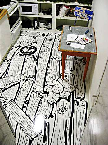 Personalized kitchen floors vinyl contact paper makes any for Painted vinyl floor ideas