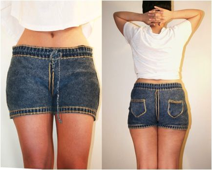 Denim-Inspired Knit Shorts