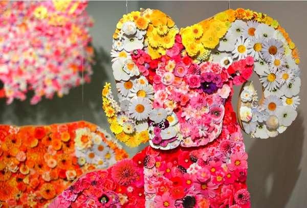 Blossoming Animal Art Installations