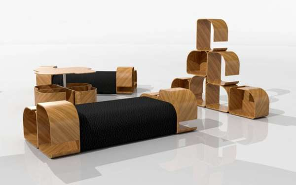 Curvaceous Wooden Couches