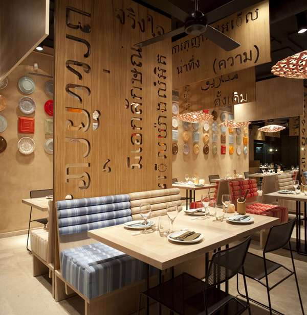 Funky cut out walls lah restaurant for Decor fusion interior design agency