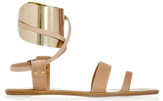 Lanvin Metal-Cuffed Leather Sandals