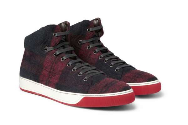 Lanvin Plaid Wool High Top Sneakers