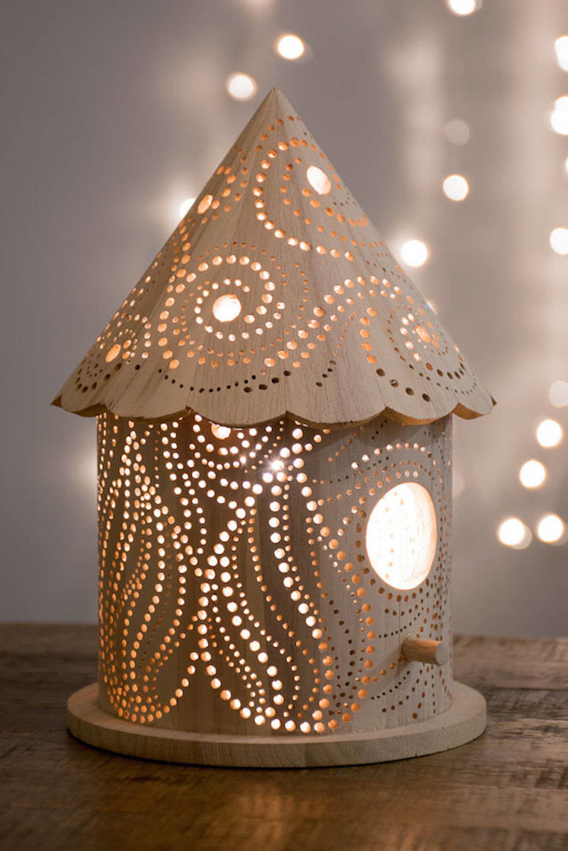 Wood-Carved Children's Lamps