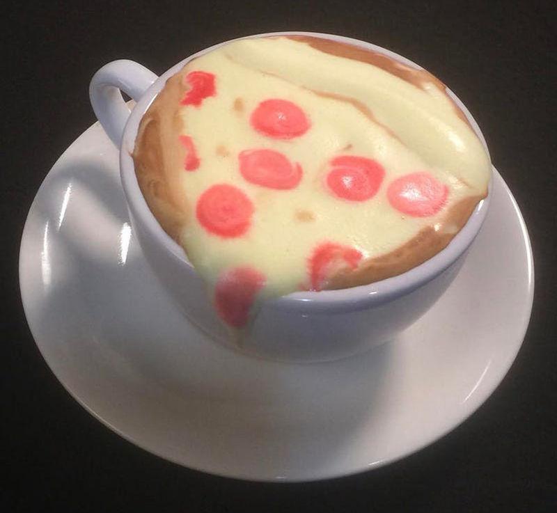 Pizza-Inspired Latte Artwork