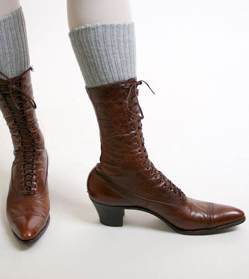 Victorian Sorceress Leather Booties