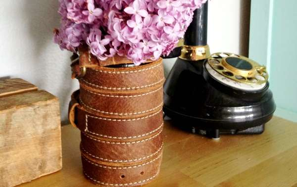 Leather-Wrapped Vase