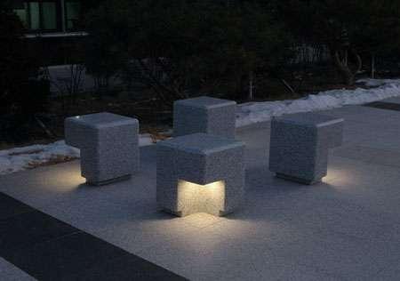 Illuminated Stonehenge Seating Lighted Cube Bench Seating