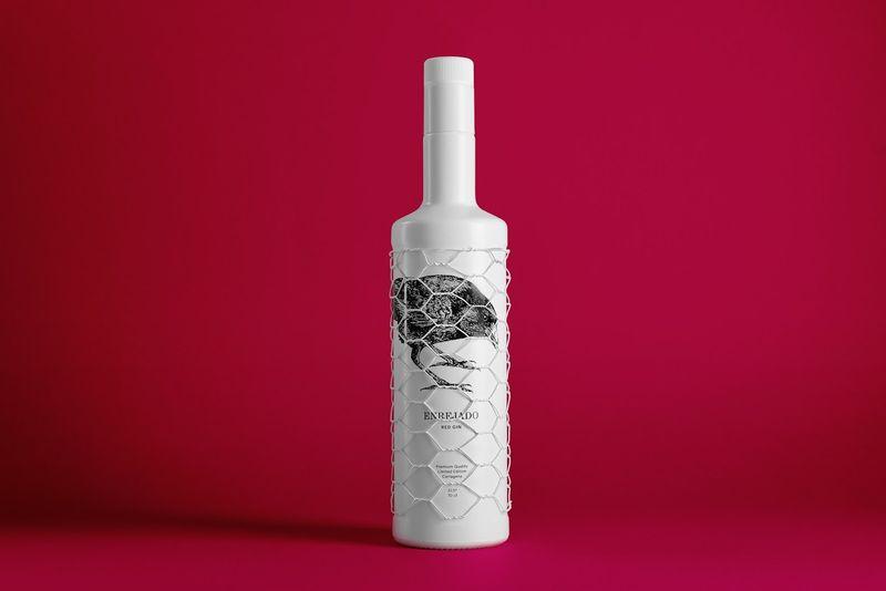 Mesh-Covered Gin Bottles