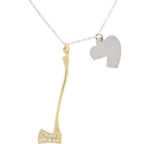 Gold and Diamond Hatchet Necklace