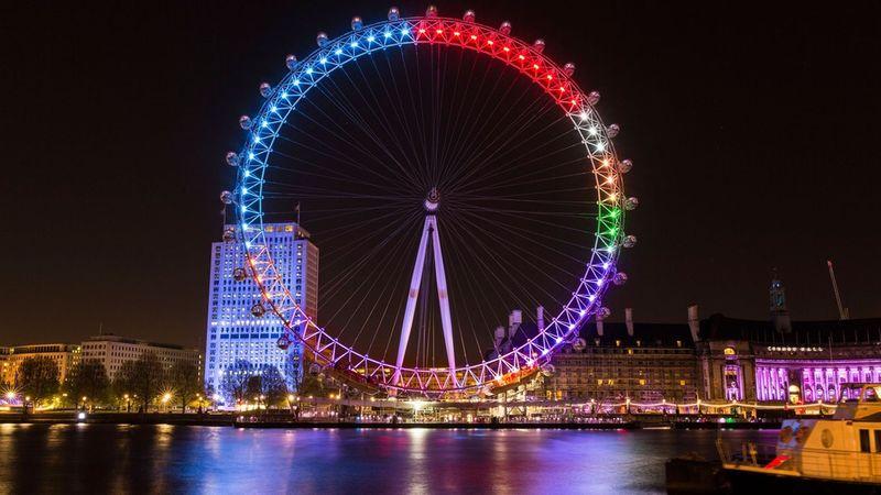 Illuminated Election Landmarks London Eye At Night