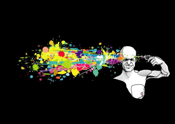 Colored Ink Splatters Ink-splattered Illustrations