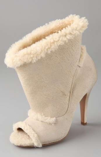 Furry Peep-Toe Pumps