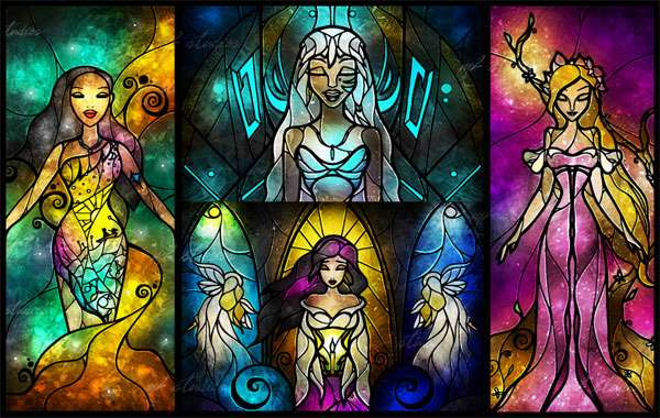 Stained Glass Princesses