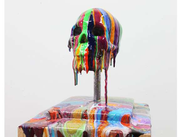 Melting Rainbow Skull Sculptures