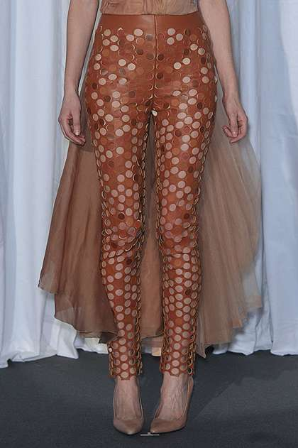 Laser Cut Leather Pants