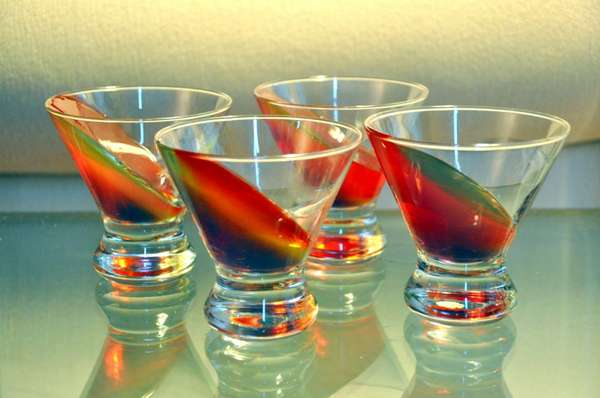 Tipsy Tilted Shooters : martini glass jello shots