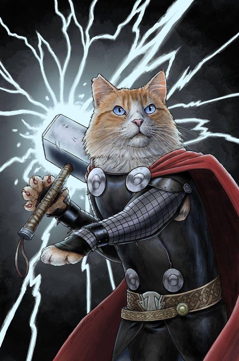 Feline Superhero Illustrations
