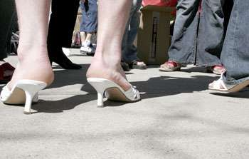 Men in High Heels Walking for Charity