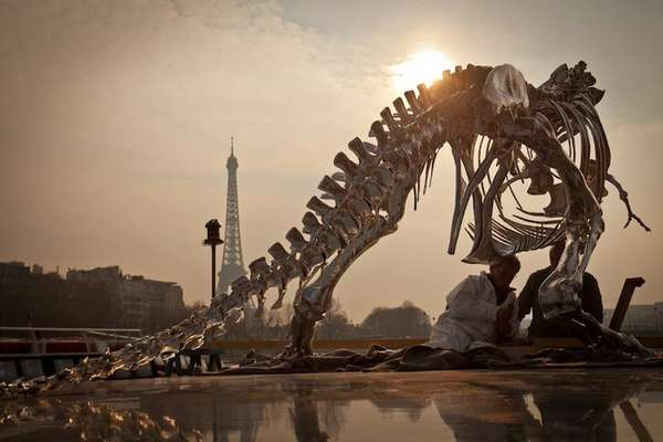 Colossal Chrome Fossil Sculptures