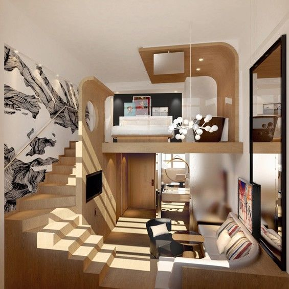 Deluxe Dorm Style Hotels Mezzanine Hotel Room