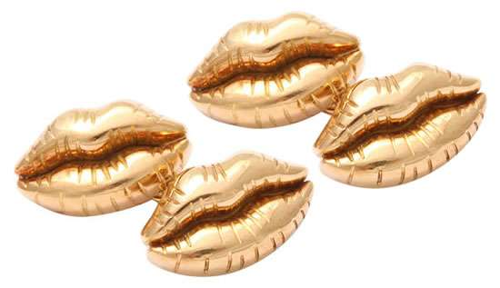 Michael Kanners Gold Lip Cufflinks
