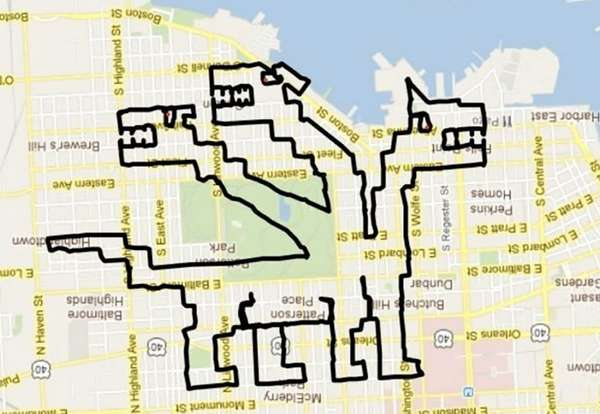 Gigantic GPS Art Illustrations