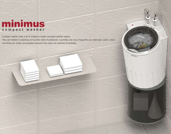 Compact Corner Clothes Cleaners Minimus Washing Machine