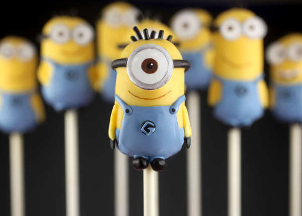 Miniature Villiainous Cake Pops : minion cake pops