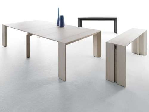 Minimalist transforming furniture minuetto space saving for Space saving dining table