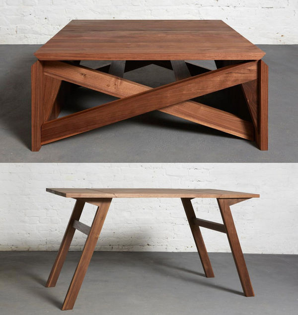 Convertible wooden furniture mk1 transforming coffee table - Table transformable but ...