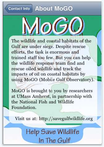 MoGO Oil Spill Effected Wildlife App