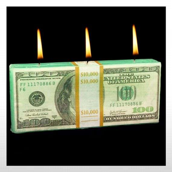 Burning Banknote Candles